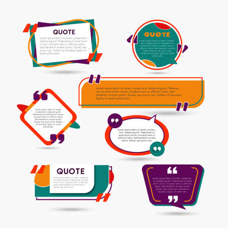 Quote Bubbles - modern vector color set of shapes with text