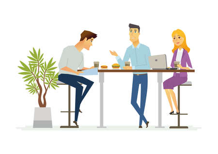 Business Lunch - vector illustration of office situation. Cartoon people characters of young female, male colleagues, partners having rest, talking at the laptop. Scene with three employees discussing