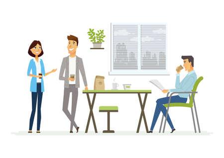 비즈니스 점심 - 현대 벡터 만화 캐릭터 그림