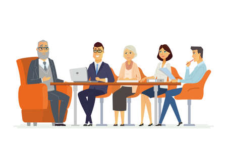 business scene: Business Meeting - modern vector cartoon characters illustration