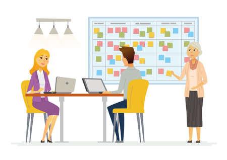 Office Kanban 계획 시스템 - 현대 벡터 비즈니스 만화 문자 그림 일러스트