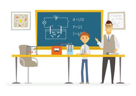 Lección de ciencia en la escuela - personajes de dibujos animados modernos personajes ilustración Ilustración de vector