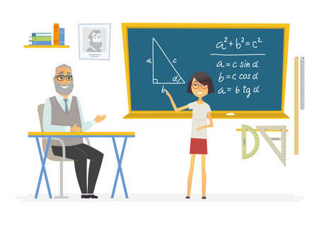 Geometry lesson at school - modern cartoon people characters illustration Illustration