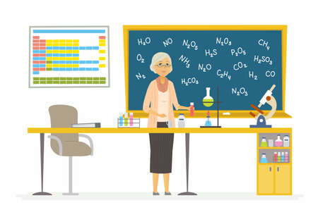 Chemistry teacher - modern cartoon people characters illustration
