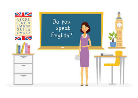 English teacher - cartoon people characters illustration Illustration