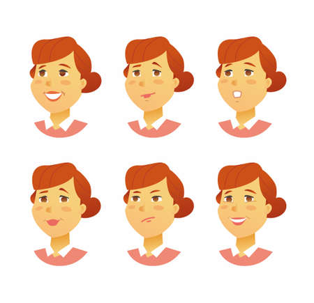 Female Facial Expressions - modern vector business cartoon characters illustration