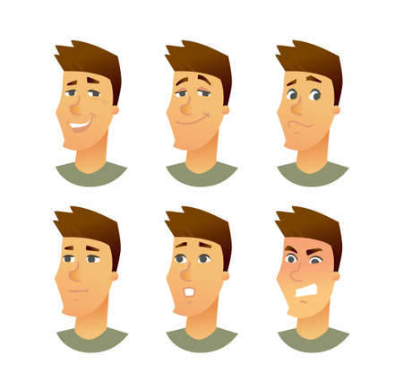 Male Facial Expressions - modern vector business cartoon characters illustration Фото со стока - 84812791