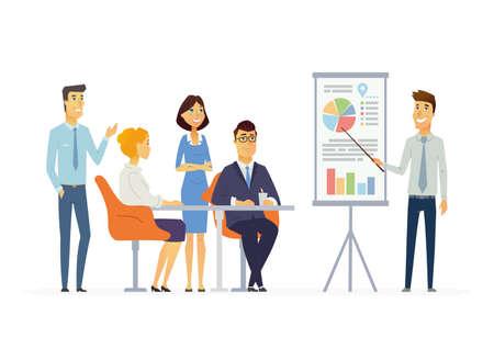 Riunione d'affari - illustrazione vettoriale di una situazione d'ufficio. Personaggi dei cartoni animati di giovani uomini, donne al lavoro. Collega maschio che fa presentazione, mostrando grafici, rapporti, formazione personale