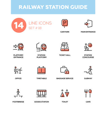 Railway station guide - modern vector icons, pictograms set. Car park, goods, station concourse, platform, main, entrance, ticket hall, timetable, luggage room, office, subway, footbridge, toilet, cafe Illustration