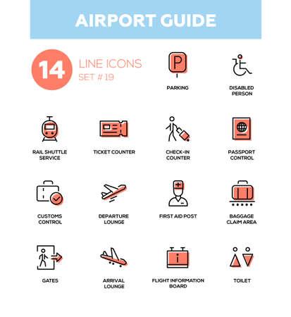 Guida dell'aeroporto - icone vettoriali moderno, set di pittogrammi. Parcheggio, lobby, biglietteria, check-in, passaporto, dogana, partenza, sala arrivi, info voli, area ritiro bagagli, cancello, toilette, posto di primo soccorso Vettoriali