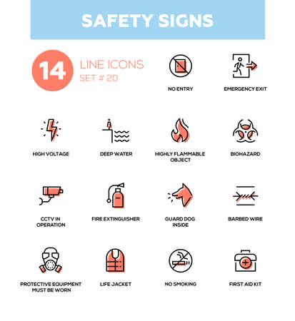 安全標識 - 現代ベクトルのアイコン、ピクトグラムを設定します。ない喫煙、非常口、電圧、水、可燃性、バイオハザード、警備犬、CCTV、火災消火  イラスト・ベクター素材