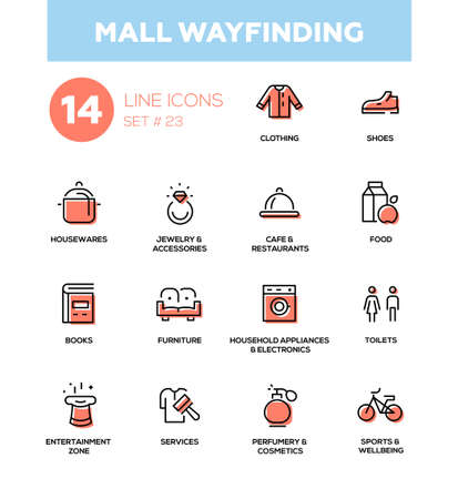 Mall wayfinding - modern vector icons, pictograms set. Clothing, shoes, houseware, accessories, cafe, food, books, furniture, electronics, cosmetics, entertainment zone, toilets, services, sports Illustration
