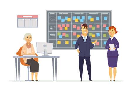 Office Kanban-planningssysteem - de moderne vector illustratie van bedrijfsbeeldverhaalkarakters