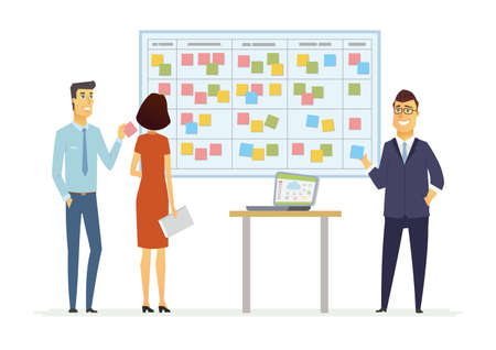 Office Kanban planning system - modern vector business cartoon characters illustration Vettoriali