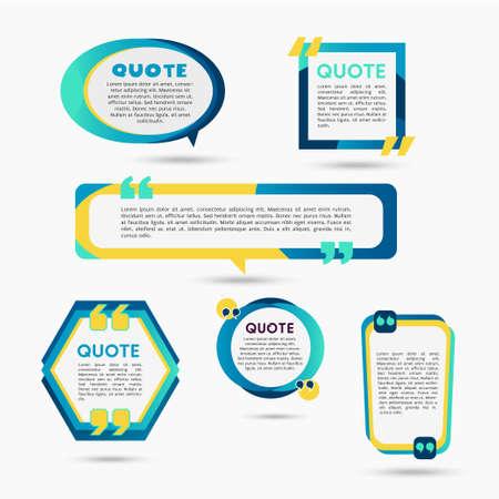 引用気泡-テキストと図形の現代ベクトルカラーセット  イラスト・ベクター素材