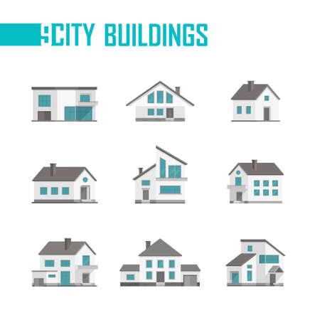 Nine small city buildings set of icons - vector illustration Ilustração