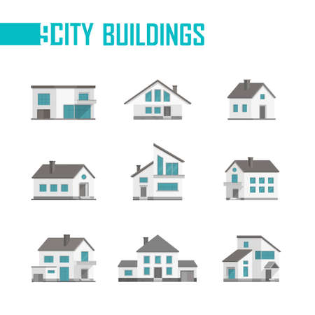 Nine small city buildings set of icons - vector illustration Illustration
