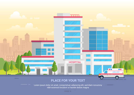 City hospital with place for text - modern vector illustration