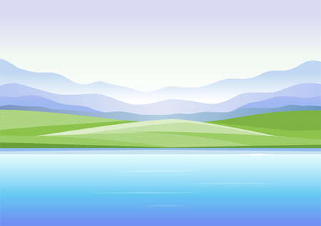 Abstract landscape with mountains and lake - modern vector illustration Illustration