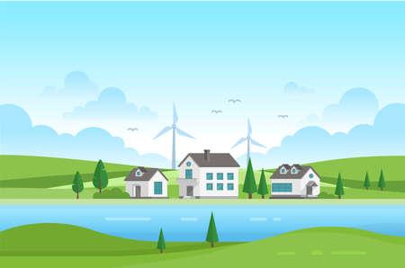 川 - 現代ベクトル図で風車と住宅不動産
