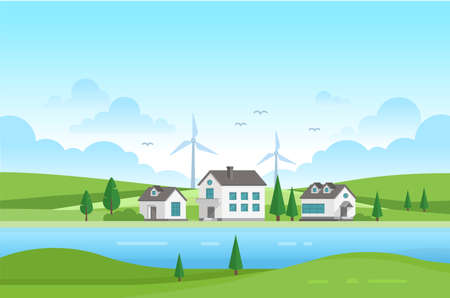 Housing estate with windmills by the river - modern vector illustration