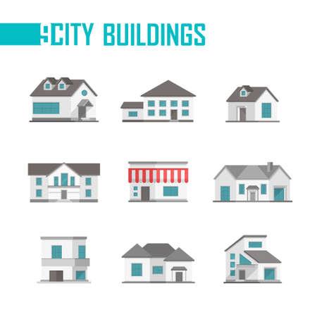 Negen lage gebouwen van de stadsgebouwen pictogrammen - vectorillustratie op witte achtergrond. Huisjes met mooie gevels. Verschillende vormen van daken en ramen. Grijze en blauwe kleur Stockfoto - 85352713