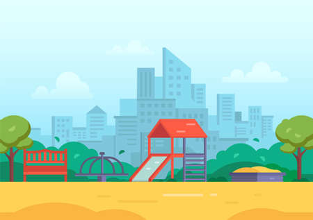 Childrens playground in a big city - modern vector illustration with skyscrapers, housing estate on the background. Tot lot with slide, bench, sandbox, merry-go-round