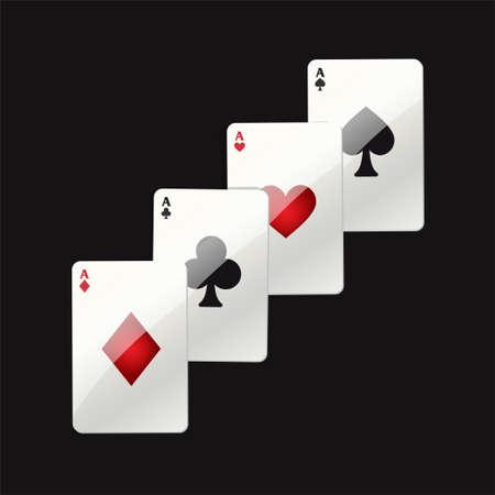 ゲーム カード - 現代ベクトル現実的な黒い背景にクリップ アート イラストを分離しました。火かき棒のエース。ハート、クラブ、スペード、ダイ