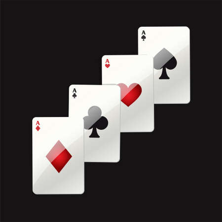 Game cards - modern vector realistic isolated clip art illustration on black background. Poker ace. Hearts, clubs, spades, diamonds. Casino, gambling, luck, fortune concept