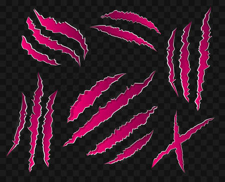 핑크 긁힌 자국이 투명 배경 - 현대 벡터 아이콘 세트. 야생 동물 발톱의 15 개 표시, 다른 모양. 호랑이, 곰, 사자의 상처. 위험, 공격, 할로윈의 개념