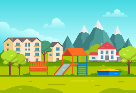 residental: Housing estate with playground by the mountains - modern vector illustration