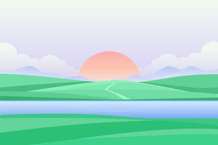 Sunset or dawn by the river - modern vector illustration