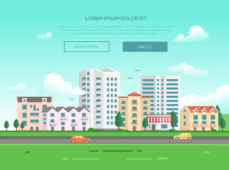 Cityscape with a road - modern vector illustration