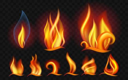 炎のセット-現代ベクトル現実的な孤立したクリップアート  イラスト・ベクター素材