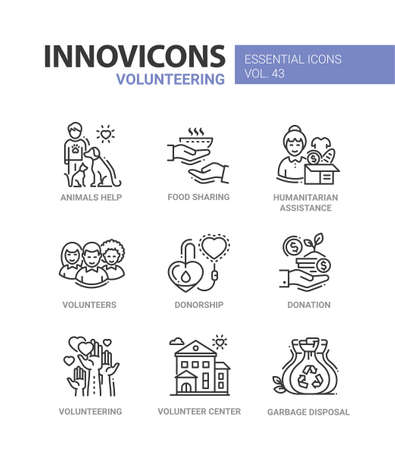 Volunteering  related icons. Vectores