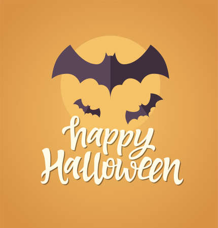 Happy Halloween celebration card with calligraphy text and bats 向量圖像