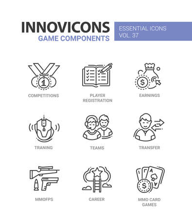 Game Components - modern vector line design icons set. Ilustração