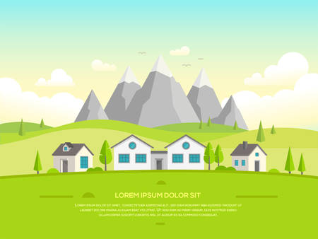 Small houses by the mountains - modern vector illustration Illustration