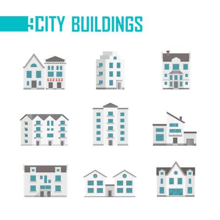 Negen stadsgebouwen set van pictogrammen - vectorillustratie