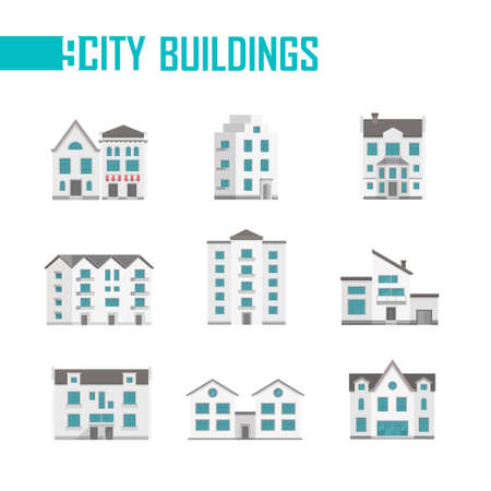 Nine city buildings set of icons - vector illustration
