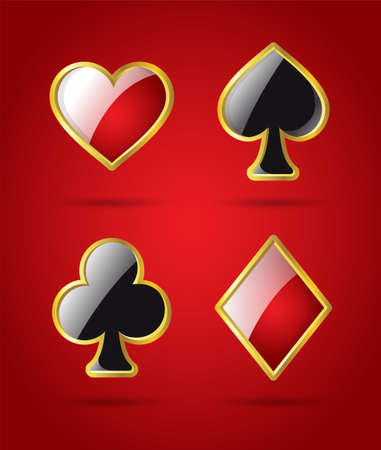 red clover: Poker card suits - modern vector isolated clip art