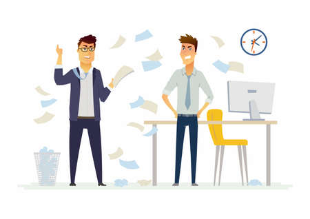 Furious boss in the office - modern cartoon people characters illustration Illustration