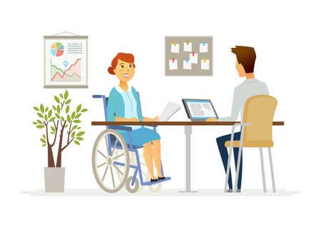 事務所 - 現代漫画の人々 の文字イラストの女性障害者  イラスト・ベクター素材