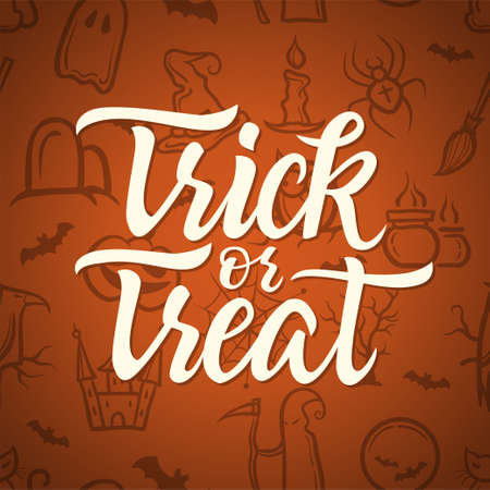 Trick or treat - Halloween celebration poster with calligraphy text