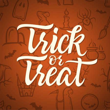 Trick or treat - Halloween-vieringsaffiche met kalligrafietekst