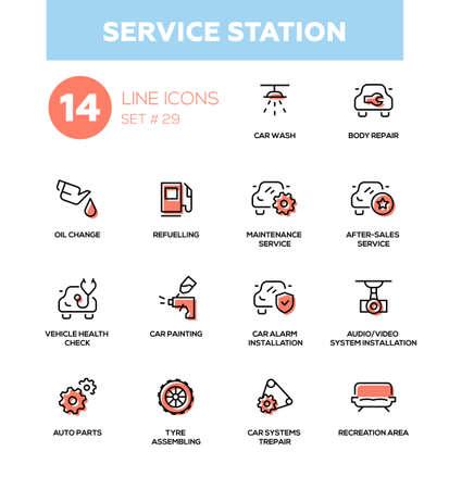 Service station - modern vector single line icons set