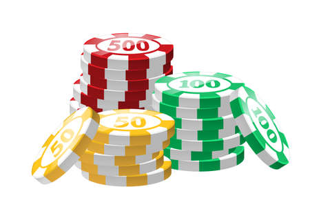 Red, green, yellow poker chips - modern vector isolated clip art Illustration