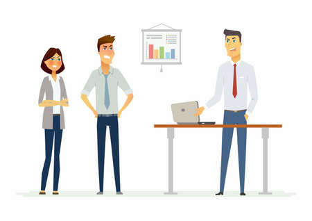 Collegues argue in the office - modern cartoon people characters illustration with angry workers. An image of a workplace with a table, notebook, infographic chart. An example of a stressful situation