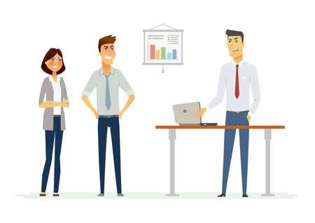 Collegues debatteren in het kantoor - moderne cartoon mensen karakters illustratie met boze werknemers. Een afbeelding van een werkplek met een tabel, een notitieboekje, een infographic grafiek. Een voorbeeld van een stressvolle situatie Stock Illustratie