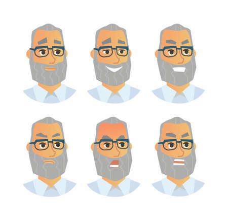 Hogere Uitdrukkingen - vector vlakke illustratie van een willekeurige persoon, werkgever, supervisor, collega, werknemer, beeldverhaalkarakter. Aantal gezichten met emoties, boos, glimlach, blij, grijns, schreeuw,